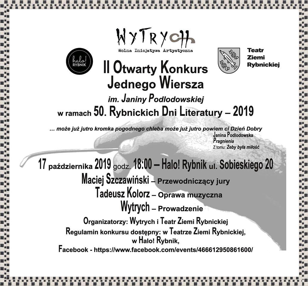 Ii Otwarty Konkurs Jednego Wiersza Im Janiny Podlodowskiej